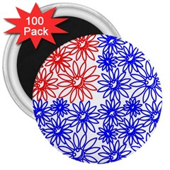 Flower Floral Smile Face Red Blue Sunflower 3  Magnets (100 Pack) by Alisyart