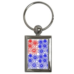 Flower Floral Smile Face Red Blue Sunflower Key Chains (rectangle)  by Alisyart