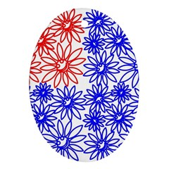 Flower Floral Smile Face Red Blue Sunflower Oval Ornament (two Sides) by Alisyart