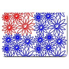 Flower Floral Smile Face Red Blue Sunflower Large Doormat  by Alisyart