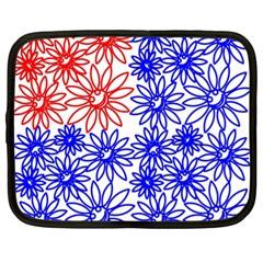 Flower Floral Smile Face Red Blue Sunflower Netbook Case (xl)  by Alisyart