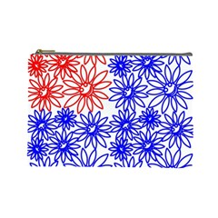 Flower Floral Smile Face Red Blue Sunflower Cosmetic Bag (large)  by Alisyart