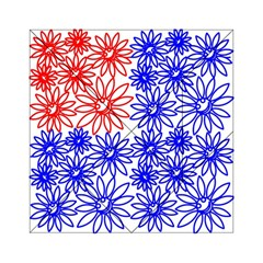 Flower Floral Smile Face Red Blue Sunflower Acrylic Tangram Puzzle (6  X 6 ) by Alisyart