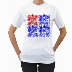 Flower Floral Smile Face Red Blue Sunflower Women s T Shirt (white)  by Alisyart