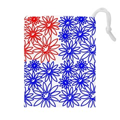 Flower Floral Smile Face Red Blue Sunflower Drawstring Pouches (extra Large) by Alisyart