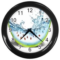 Fruit Water Slice Watermelon Wall Clocks (black) by Alisyart
