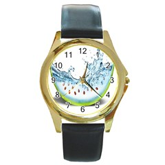 Fruit Water Slice Watermelon Round Gold Metal Watch