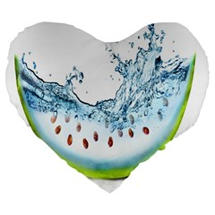 Fruit Water Slice Watermelon Large 19  Premium Heart Shape Cushions by Alisyart