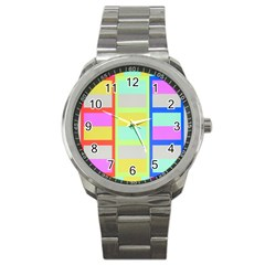 Maximum Color Rainbow Red Blue Yellow Grey Pink Plaid Flag Sport Metal Watch by Alisyart