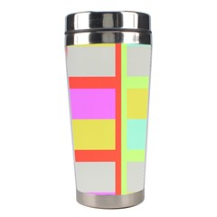 Maximum Color Rainbow Red Blue Yellow Grey Pink Plaid Flag Stainless Steel Travel Tumblers by Alisyart