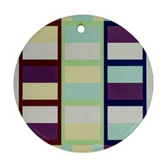 Maximum Color Rainbow Brown Blue Purple Grey Plaid Flag Round Ornament (two Sides) by Alisyart