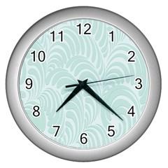 Leaf Blue Wall Clocks (silver)  by Alisyart