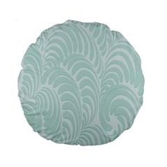 Leaf Blue Standard 15  Premium Round Cushions by Alisyart