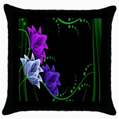 Neon Flowers Floral Rose Light Green Purple White Pink Sexy Throw Pillow Case (black) by Alisyart