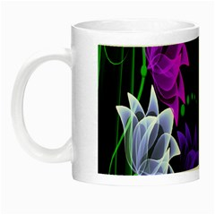 Neon Flowers Floral Rose Light Green Purple White Pink Sexy Night Luminous Mugs by Alisyart