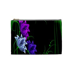 Neon Flowers Floral Rose Light Green Purple White Pink Sexy Cosmetic Bag (medium)  by Alisyart