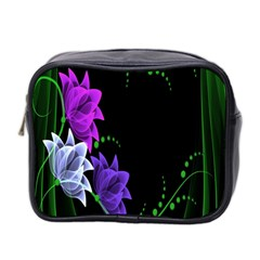 Neon Flowers Floral Rose Light Green Purple White Pink Sexy Mini Toiletries Bag 2 Side by Alisyart