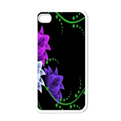 Neon Flowers Floral Rose Light Green Purple White Pink Sexy Apple Iphone 4 Case (white) by Alisyart