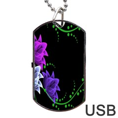 Neon Flowers Floral Rose Light Green Purple White Pink Sexy Dog Tag Usb Flash (one Side) by Alisyart