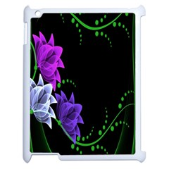 Neon Flowers Floral Rose Light Green Purple White Pink Sexy Apple Ipad 2 Case (white) by Alisyart
