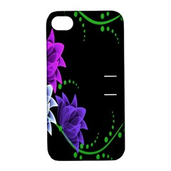 Neon Flowers Floral Rose Light Green Purple White Pink Sexy Apple Iphone 4/4s Hardshell Case With Stand by Alisyart