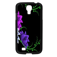 Neon Flowers Floral Rose Light Green Purple White Pink Sexy Samsung Galaxy S4 I9500/ I9505 Case (black) by Alisyart