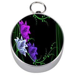Neon Flowers Floral Rose Light Green Purple White Pink Sexy Silver Compasses by Alisyart