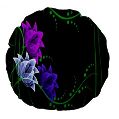Neon Flowers Floral Rose Light Green Purple White Pink Sexy Large 18  Premium Flano Round Cushions by Alisyart