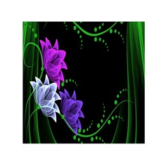 Neon Flowers Floral Rose Light Green Purple White Pink Sexy Small Satin Scarf (square) by Alisyart