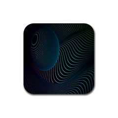 Line Light Blue Green Purple Circle Hole Wave Waves Rubber Square Coaster (4 Pack)  by Alisyart