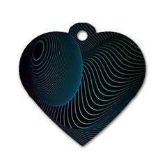 Line Light Blue Green Purple Circle Hole Wave Waves Dog Tag Heart (one Side) by Alisyart