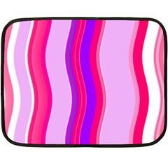 Pink Wave Purple Line Light Double Sided Fleece Blanket (mini)  by Alisyart