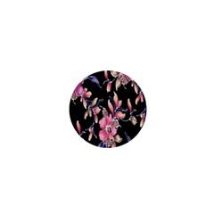 Neon Flowers Rose Sunflower Pink Purple Black 1  Mini Magnets by Alisyart
