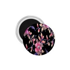 Neon Flowers Rose Sunflower Pink Purple Black 1 75  Magnets by Alisyart