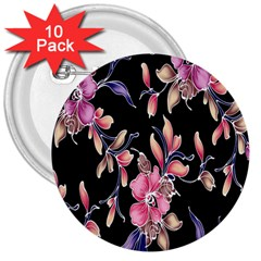 Neon Flowers Rose Sunflower Pink Purple Black 3  Buttons (10 pack)