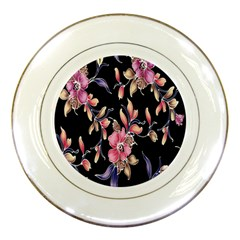 Neon Flowers Rose Sunflower Pink Purple Black Porcelain Plates by Alisyart