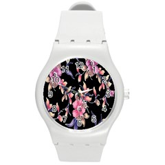 Neon Flowers Rose Sunflower Pink Purple Black Round Plastic Sport Watch (m) by Alisyart
