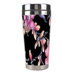 Neon Flowers Rose Sunflower Pink Purple Black Stainless Steel Travel Tumblers by Alisyart