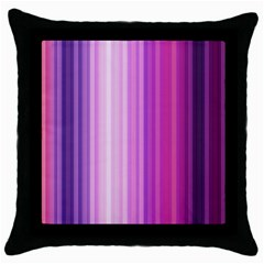 Pink Vertical Color Rainbow Purple Red Pink Line Throw Pillow Case (black)