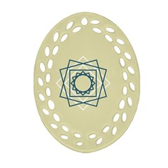 Shape Experimen Geometric Star Plaid Sign Oval Filigree Ornament (two Sides) by Alisyart
