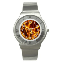 Sea Fire Orange Yellow Gold Wave Waves Stainless Steel Watch by Alisyart