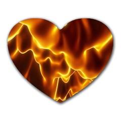 Sea Fire Orange Yellow Gold Wave Waves Heart Mousepads by Alisyart