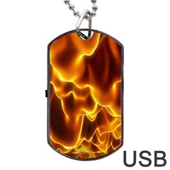 Sea Fire Orange Yellow Gold Wave Waves Dog Tag Usb Flash (one Side) by Alisyart
