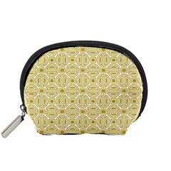 Gold Geometric Plaid Circle Accessory Pouches (small)  by Alisyart