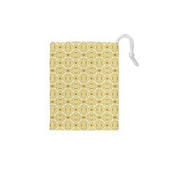 Gold Geometric Plaid Circle Drawstring Pouches (xs)  by Alisyart