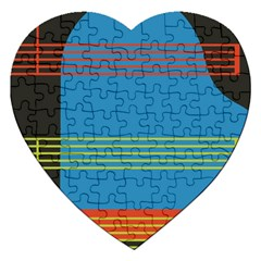 Sketches Tone Red Yellow Blue Black Musical Scale Jigsaw Puzzle (heart) by Alisyart