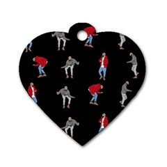 Drake Hotline Bling Black Background Dog Tag Heart (two Sides) by Onesevenart