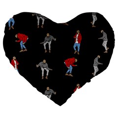 Drake Hotline Bling Black Background Large 19  Premium Heart Shape Cushions by Onesevenart