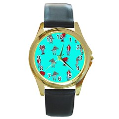 Hotline Bling Blue Background Round Gold Metal Watch by Onesevenart