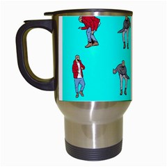 Hotline Bling Blue Background Travel Mugs (white) by Onesevenart